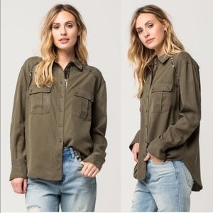 Free People Off Campus Green Button Down Shirt
